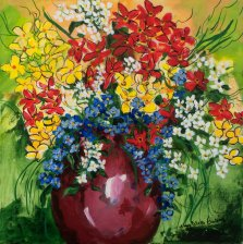 Little Summer Bouquet, Acrylic on canvas by Nancy Stella Galianos